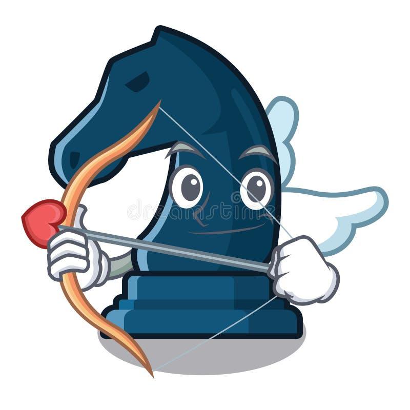 Cavaliere di scacchi del cupido nella forma della mascotte illustrazione vettoriale