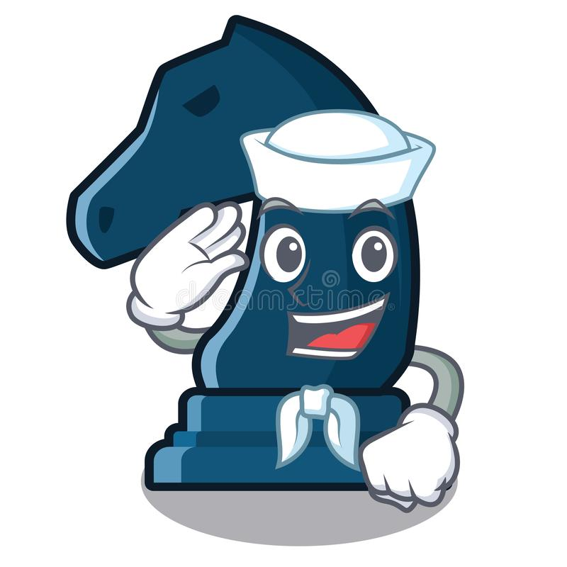 Cavaliere di scacchi del marinaio nella forma della mascotte illustrazione vettoriale