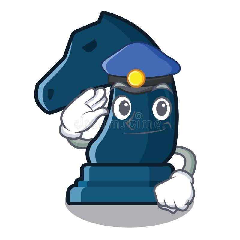 Cavaliere di scacchi della polizia nella forma della mascotte illustrazione vettoriale