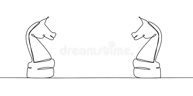 Cavaliere di scacchi due sul campione Disegno a tratteggio continuo isolato su fondo bianco Illustrazione di vettore royalty illustrazione gratis