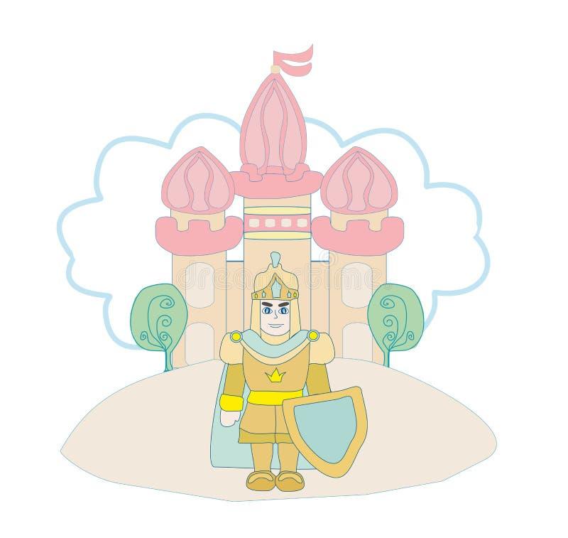 Cavaliere divertente del fumetto e un bello castello illustrazione di stock