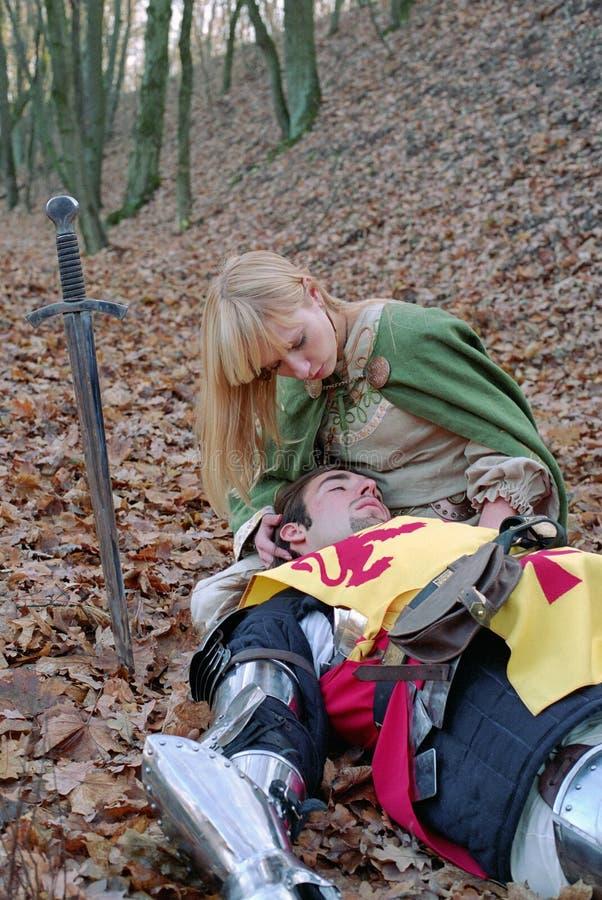 Cavaliere e domestica feriti fotografie stock libere da diritti