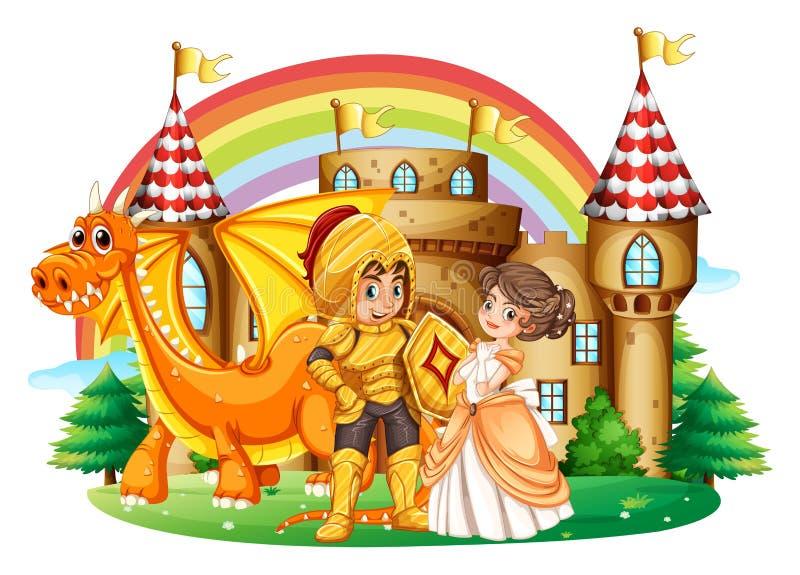 Cavaliere e principessa al palazzo illustrazione di stock
