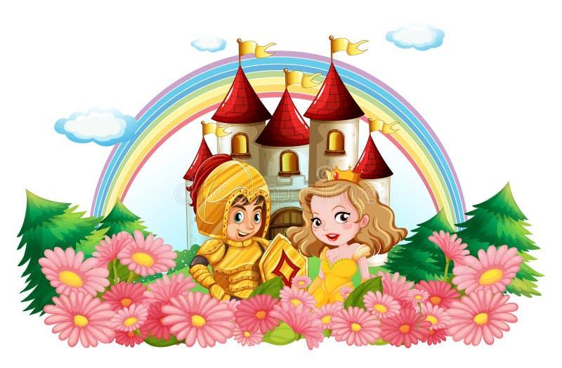Cavaliere e principessa in giardino floreale royalty illustrazione gratis