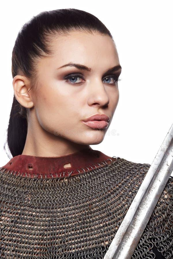 Cavaliere femminile in armatura immagini stock libere da diritti