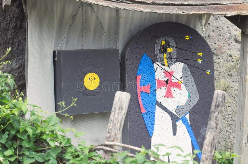 Cavaliere medievale Archery Target fotografia stock