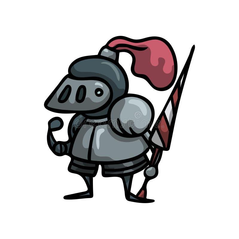 Cavaliere medievale in armatura d'acciaio del metallo con il casco rosso della piuma illustrazione vettoriale