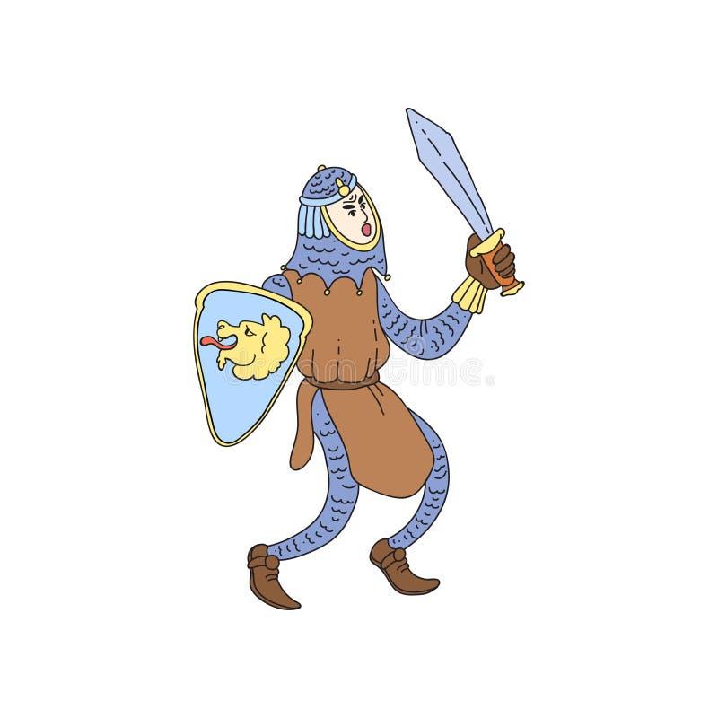 Cavaliere medievale in armatura del metallo con la spada e lo schermo d'acciaio illustrazione di stock