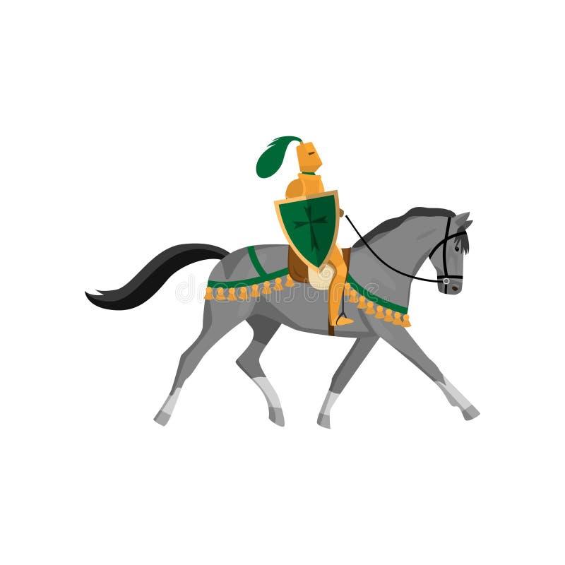 Cavaliere medievale in armatura dell'oro con il casco con la piuma verde illustrazione di stock