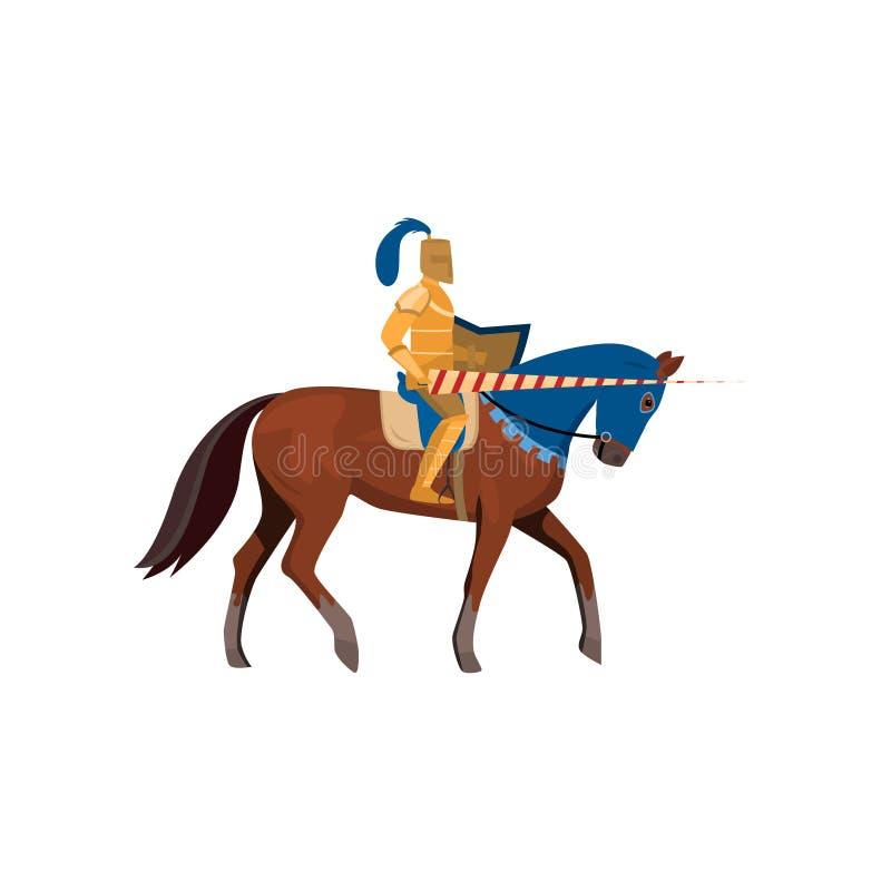 Cavaliere medievale in armatura dell'oro con la lancia lunga con il cavallo illustrazione di stock