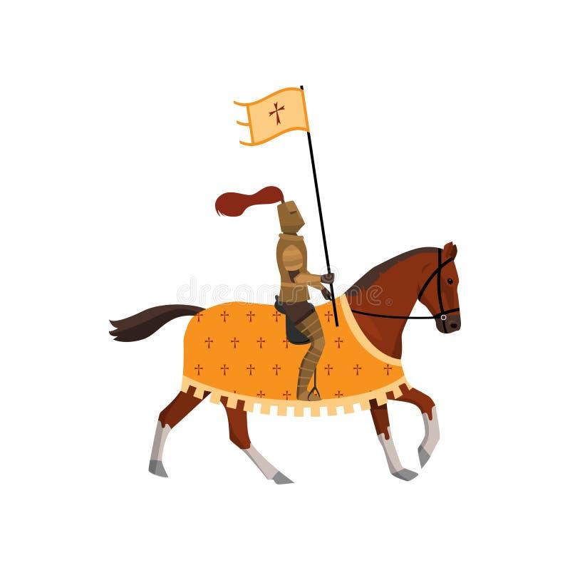 Cavaliere medievale con la bandiera trasversale ed il cavallo marrone con la copertura royalty illustrazione gratis