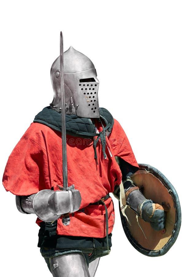 Cavaliere medievale con la spada e lo schermo fotografia stock
