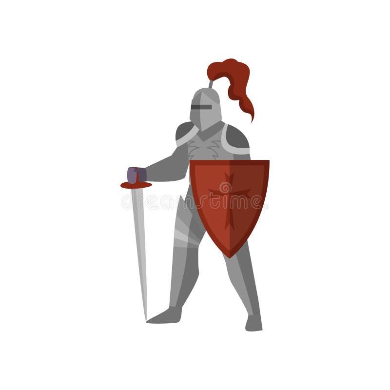 Cavaliere medievale con la spada e lo schermo lunghi della croce rossa royalty illustrazione gratis