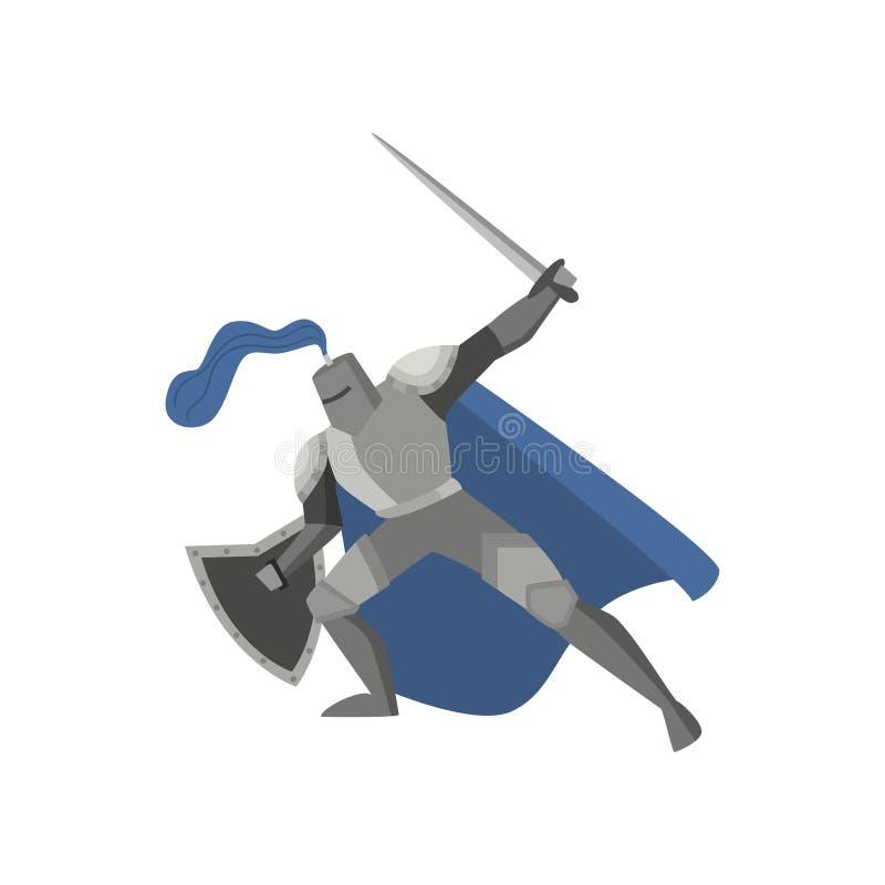 Cavaliere medievale di racconto in armatura d'acciaio del metallo con la spada illustrazione di stock