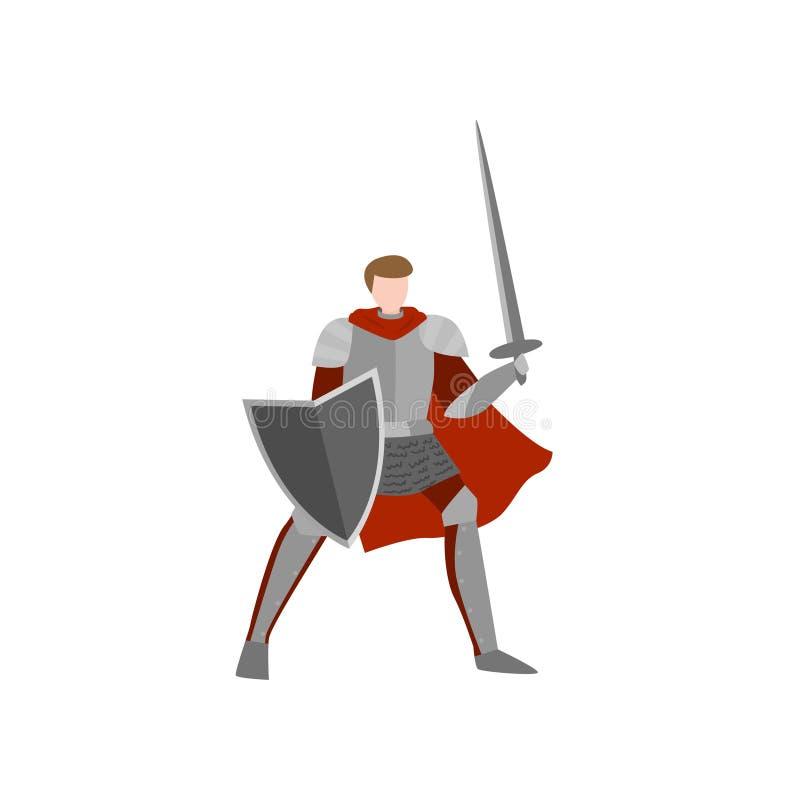 Cavaliere medievale pronto per la battaglia senza casco, con la spada illustrazione vettoriale