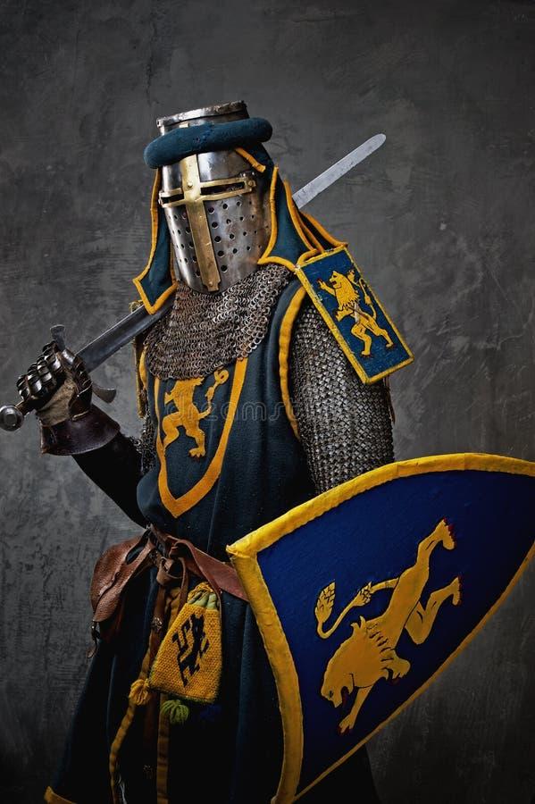 Cavaliere medioevale con la spada sulla sua spalla fotografie stock