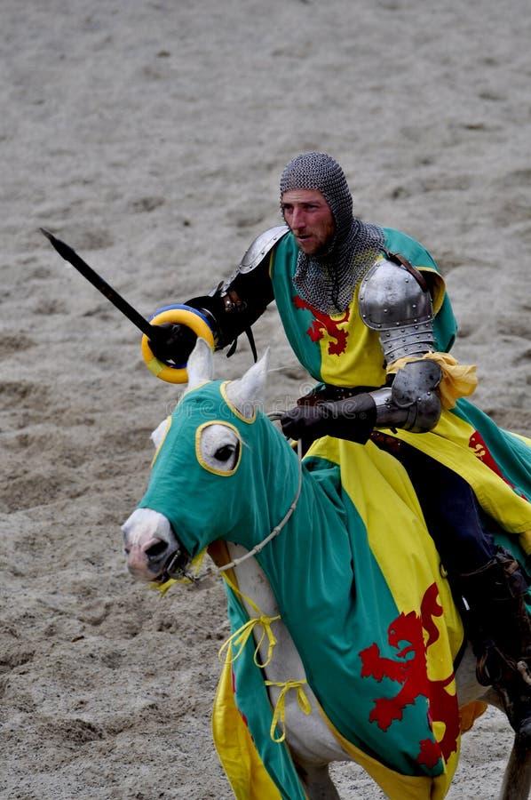 Cavaliere medioevale su a cavallo fotografia stock libera da diritti