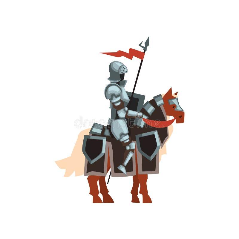 Cavaliere reale che si siede sul cavallo con la bandiera rossa e lo schermo a disposizione Guerriero coraggioso in armatura brill illustrazione di stock