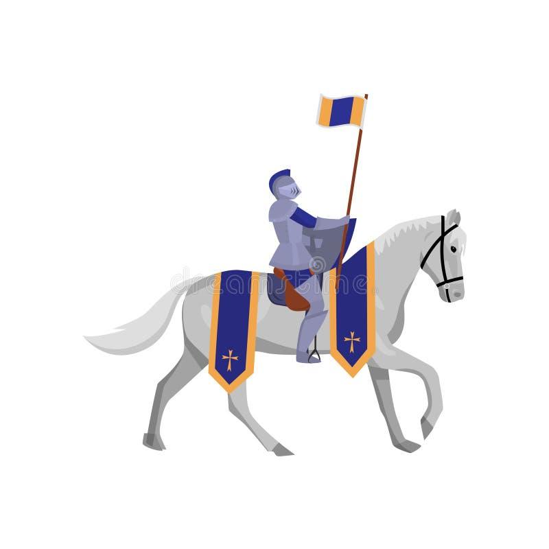 Cavaliere reale con la bandiera in armatura ed in cavallo bianco d'acciaio royalty illustrazione gratis