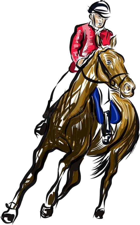 Cavaliere su un salto del cavallo illustrazione di stock