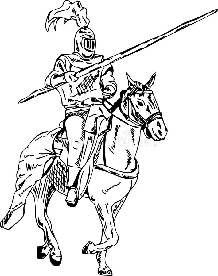 Cavaliere sul cavallo illustrazione vettoriale
