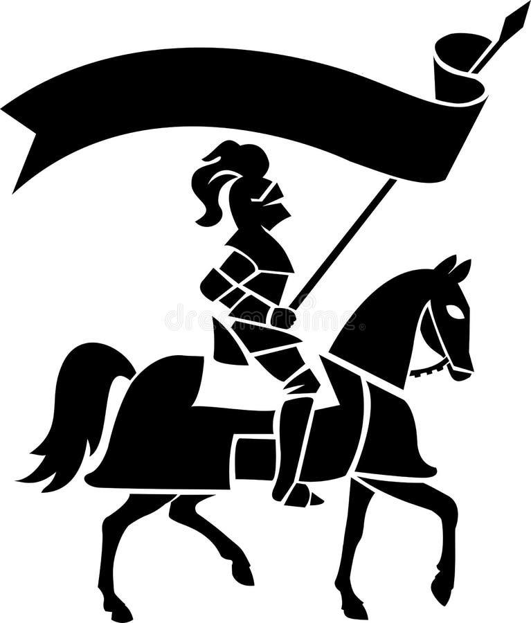 Cavaliere sul cavallo con Banner/ai royalty illustrazione gratis