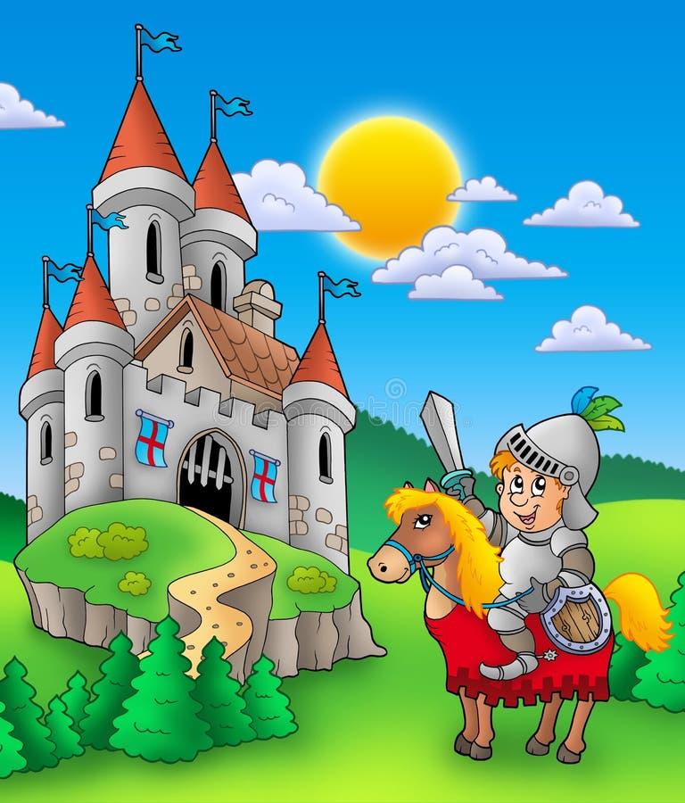 Cavaliere sul cavallo con il castello royalty illustrazione gratis