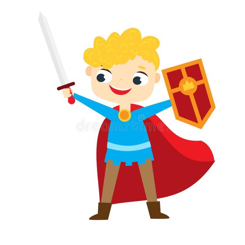 Cavaliere sveglio Boy Bambino del fumetto con lo schermo e la spada royalty illustrazione gratis