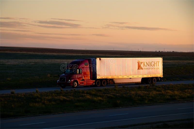Cavaliere Transport Sunset immagini stock