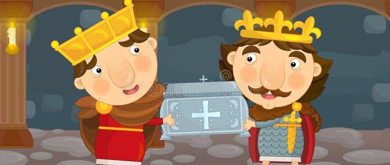 Cavalieri del fumetto due o re felici e divertenti nella stanza del castello con la nuvola di tempesta fra loro illustrazione vettoriale