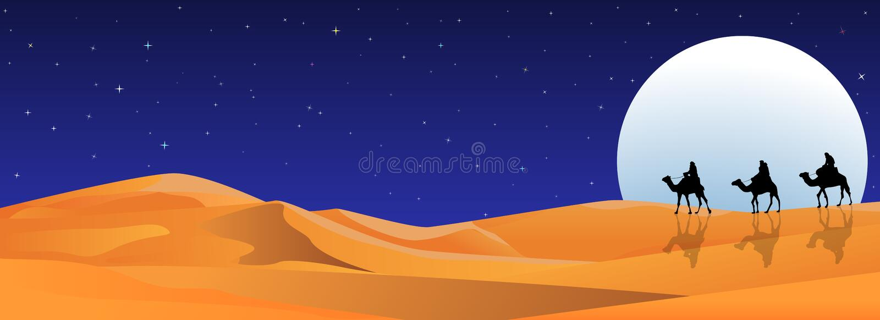 Cavalieri sui cammelli alla notte nel deserto illustrazione vettoriale