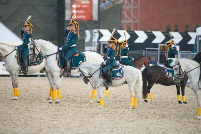 Cavaliers d'escorte honorifique de cavalerie école d'équitation présidentielle de régiment et de Kremlevskaya photo libre de droits