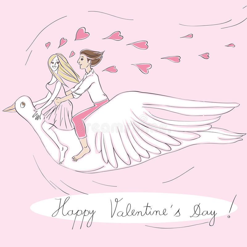 Cavaliers d'oiseau de Valentine illustration de vecteur