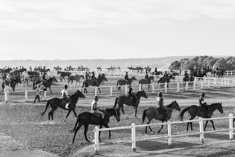 Cavaliers de chevaux de course formant le blanc noir photographie stock libre de droits