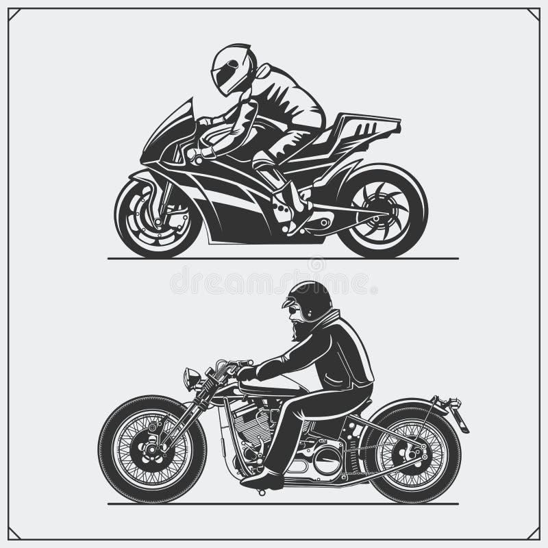 Cavaliers de moto E Type de cru illustration de vecteur