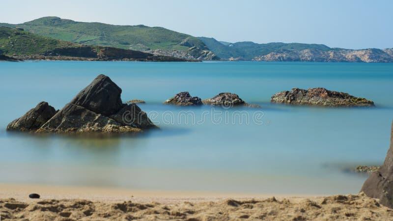 Cavallari海滩, Menorca,西班牙 库存照片