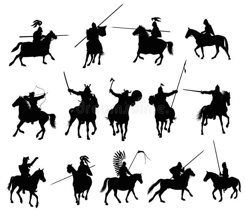 Cavallerizzi di vettore isolati illustrazione vettoriale