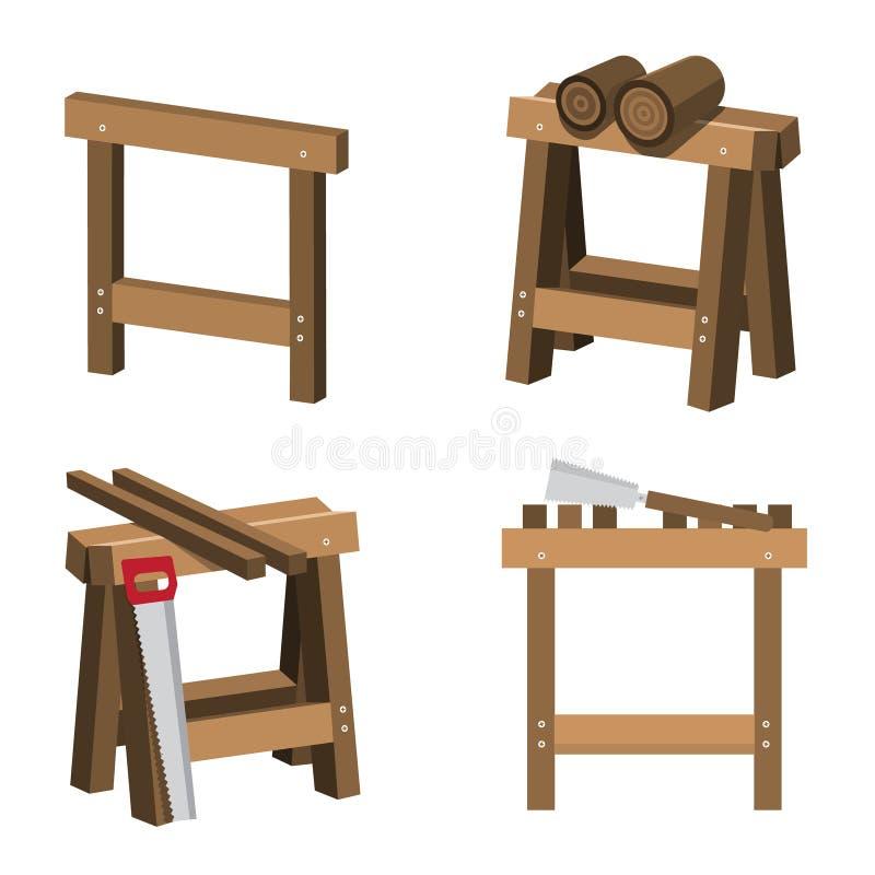 Cavalletti per i carpentieri ed i falegnami con legno illustrazione di stock