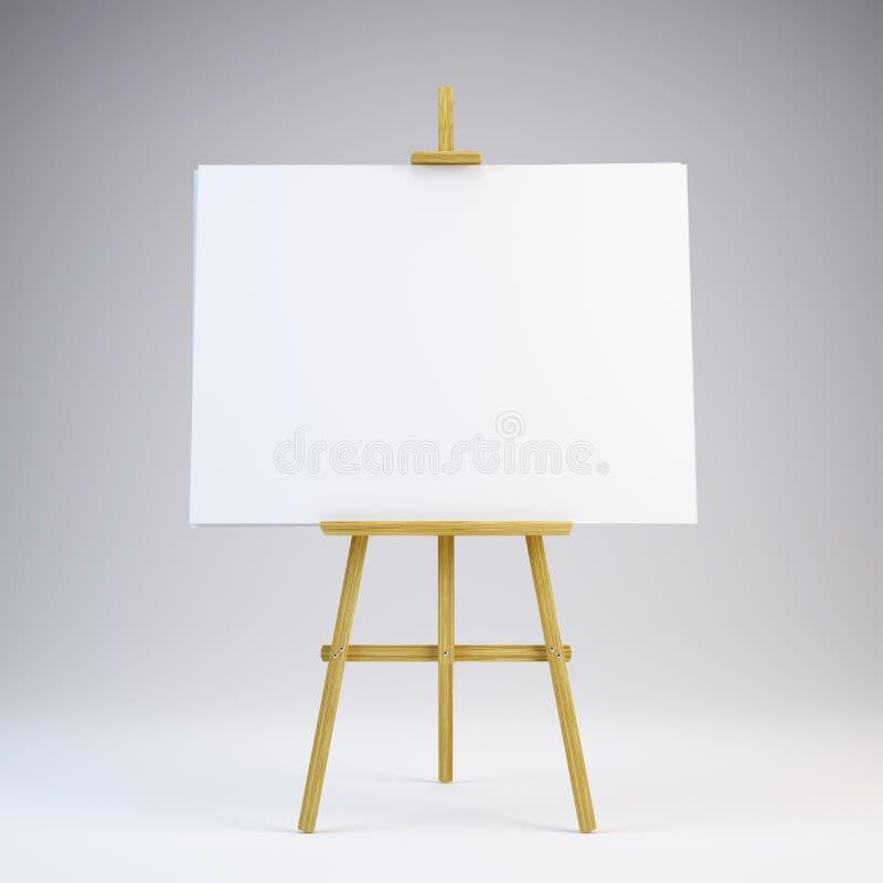 Cavalletto di legno con tela bianca in bianco royalty illustrazione gratis