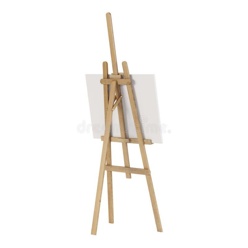 Cavalletto di legno con un modello vuoto Isolato su priorità bassa bianca illustrazione di stock