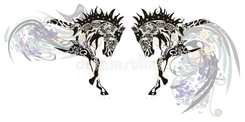 Cavalli decorati con gli elementi floreali illustrazione di stock