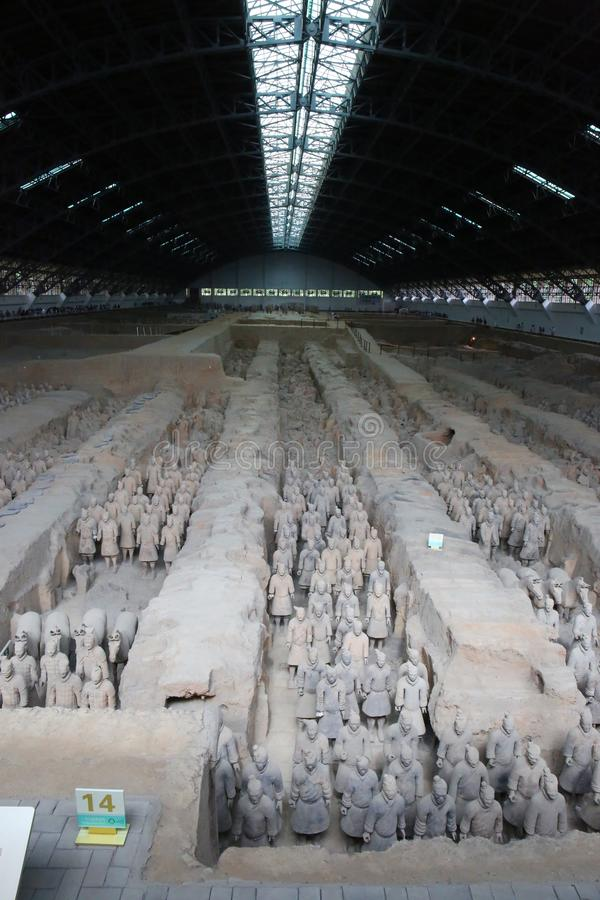 Cavalli dei soldati dell'esercito di terracotta, Xian China immagine stock