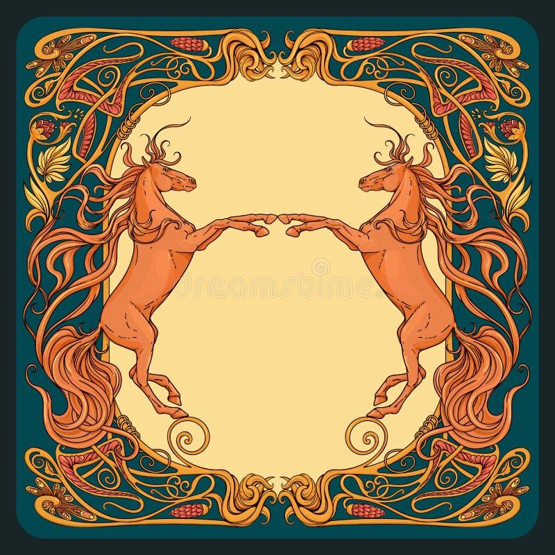 Cavalli di fantasia nel telaio floreale illustrazione di stock