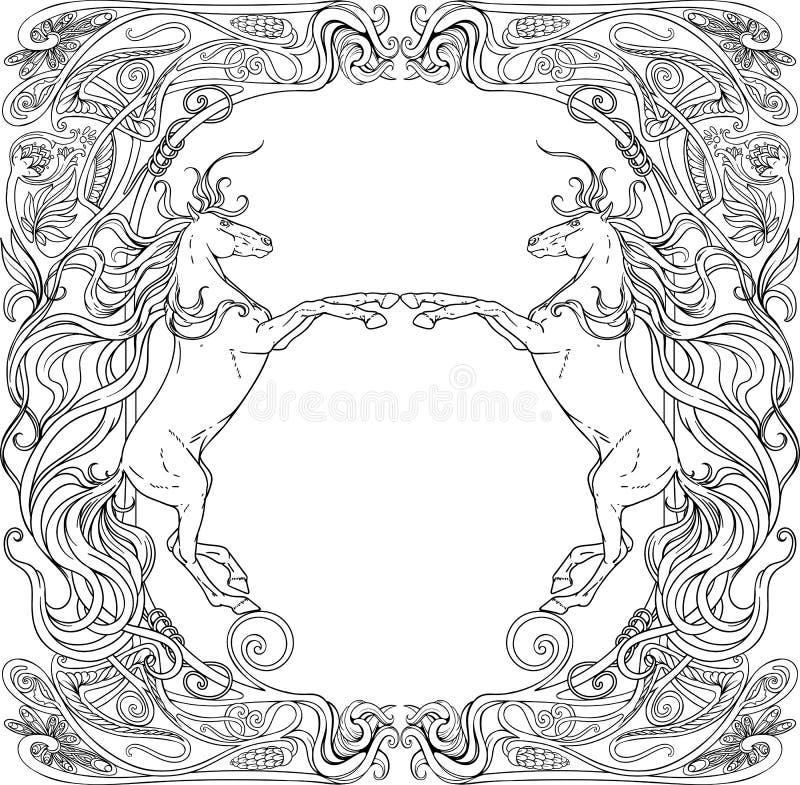 Cavalli di fantasia nel telaio floreale Rebecca 36 illustrazione di stock