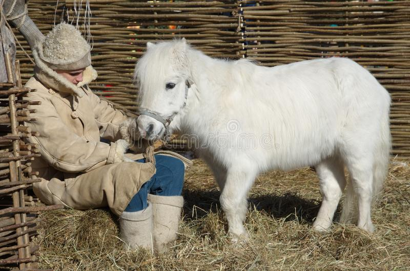 Cavallino bianco al quadrato nella festa di Maslenitsa, Mosca, Russia di Manezhnaya immagine stock libera da diritti