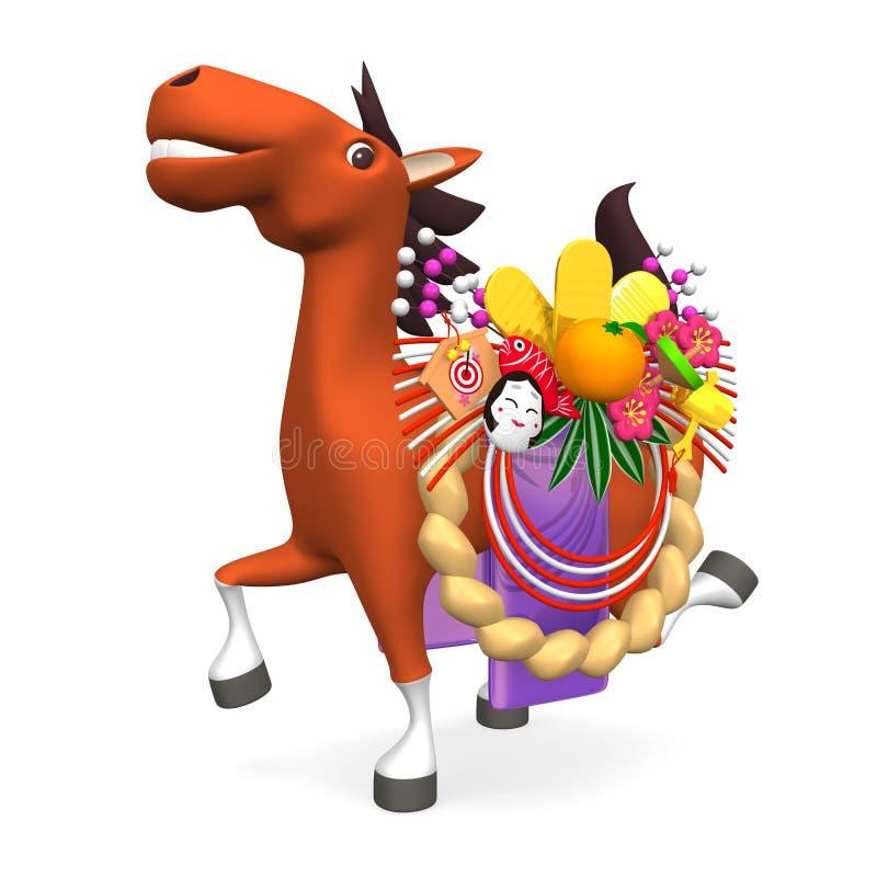 Cavallo allegro che sta portando l'ornamento del nuovo anno giapponese illustrazione vettoriale