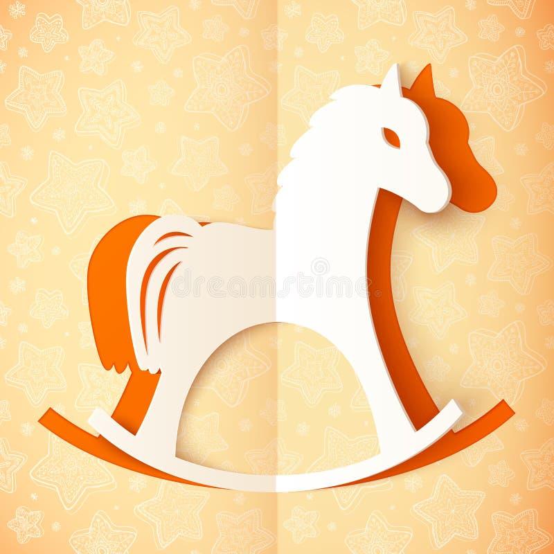 Cavallo arancio di vettore della carta del ritaglio royalty illustrazione gratis