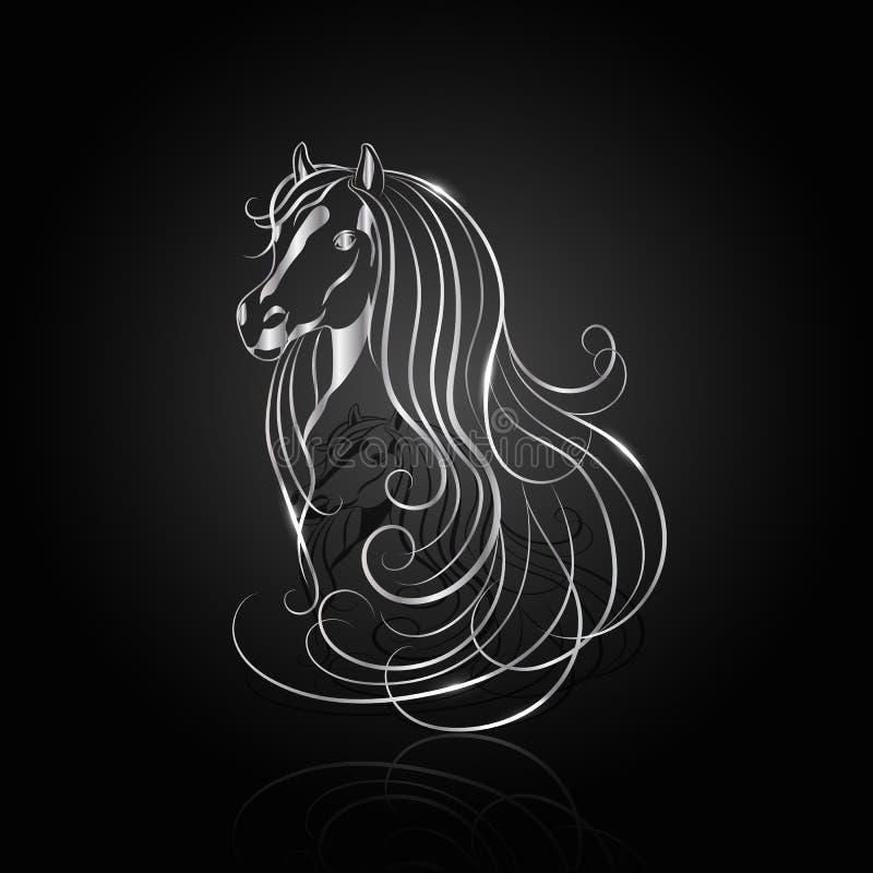 Cavallo astratto d'argento royalty illustrazione gratis