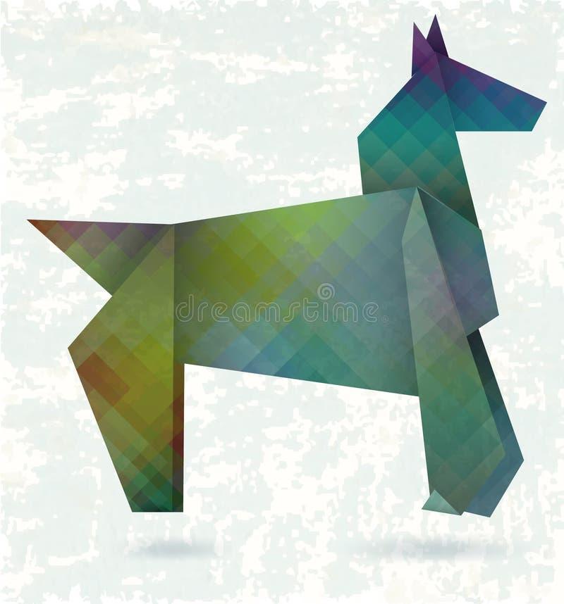 Cavallo astratto, origami di carta illustrazione di stock