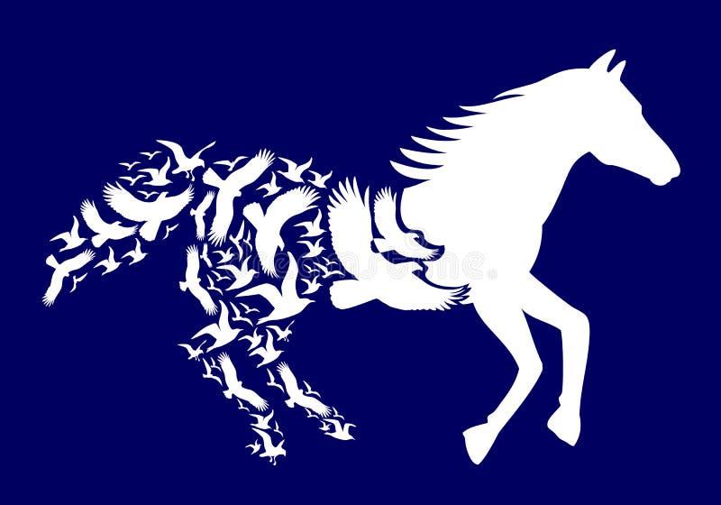 Cavallo bianco con gli uccelli di volo, vettore illustrazione vettoriale